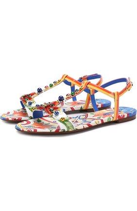 Кожаные сандалии с принтом | Фото №1