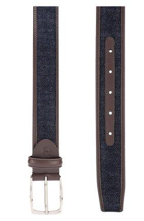 Комбинированный ремень с металлической пряжкой Canali темно-синий | Фото №1