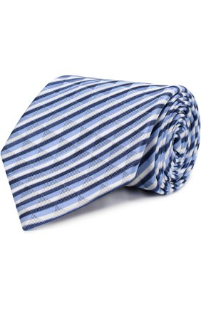 Мужской шелковый галстук в полоску GIORGIO ARMANI синего цвета, арт. 360054/8P802 | Фото 1