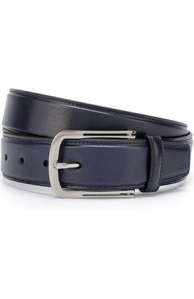 Мужской кожаный ремень с металлической пряжкой BRIONI темно-синего цвета, арт. 0BV50L/06763 | Фото 1