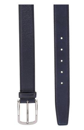 Мужской кожаный ремень с металлической пряжкой BRIONI темно-синего цвета, арт. 0BV50L/06763 | Фото 2