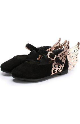 Замшевые туфли с ремешком и фигурным декором | Фото №1