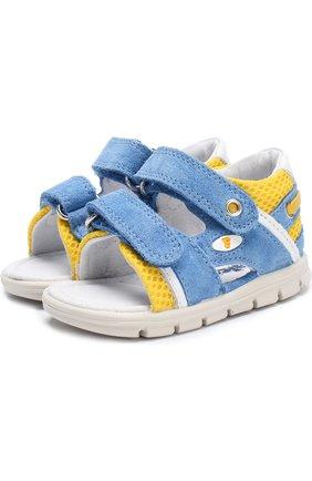 Замшевые сандалии с застежками велькро | Фото №1