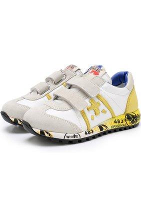 Кожаные кроссовки с застежками велькро и замшевой отделкой | Фото №1