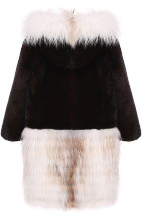 Шуба прямого кроя с капюшоном Мила FurLand коричневого цвета | Фото №1