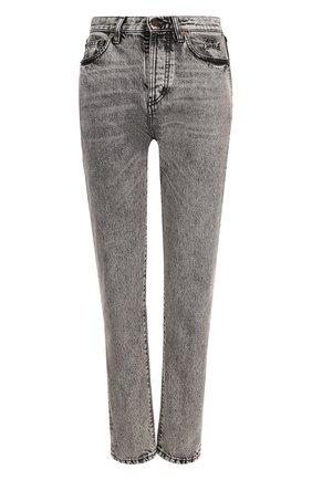 Женские джинсы прямого кроя с завышенной талией и потертостями SAINT LAURENT серого цвета, арт. 500454/YE805 | Фото 1