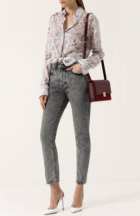 Женские джинсы прямого кроя с завышенной талией и потертостями SAINT LAURENT серого цвета, арт. 500454/YE805 | Фото 2