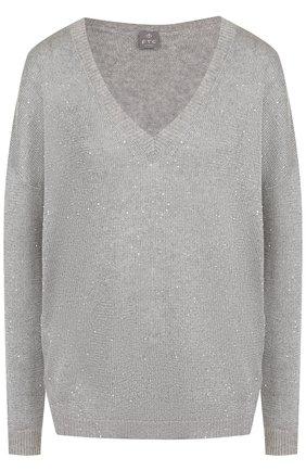 Кашемировый пуловер с V-образным вырезом   Фото №1
