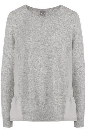 Женский однотонный кашемировый пуловер с круглым вырезом FTC серого цвета, арт. 700-0700 | Фото 1