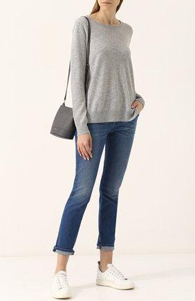 Женский однотонный кашемировый пуловер с круглым вырезом FTC серого цвета, арт. 700-0700 | Фото 2