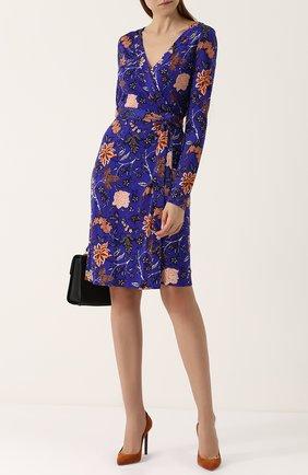 Шелковое платье с запахом и принтом Diane Von Furstenberg зеленое   Фото №1