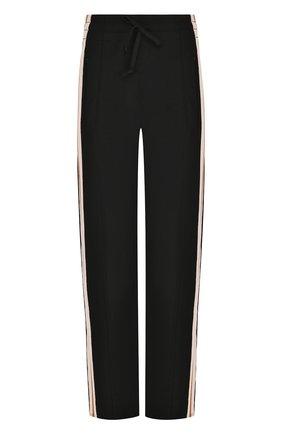 Укороченные брюки прямого кроя с контрастными лампасами | Фото №1
