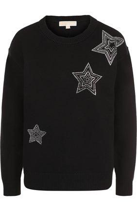 Однотонный пуловер с круглым вырезом и контрастной отделкой