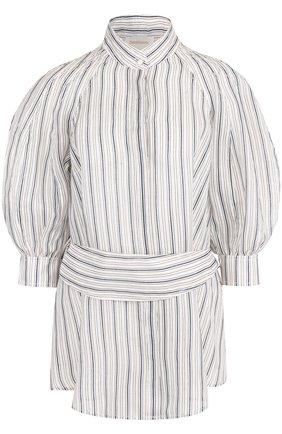 Блуза из смеси льна и шелка с поясом | Фото №1