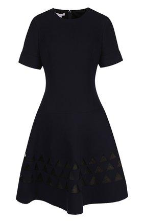 Приталенное шерстяное мини-платье с коротким рукавом | Фото №1