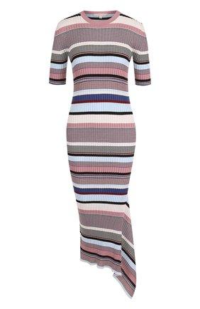 Хлопковое облегающее платье асимметричного кроя в полоску   Фото №1