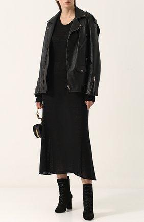 Приталенное вязаное платье-миди с длинным рукавом Maison Margiela черное | Фото №1