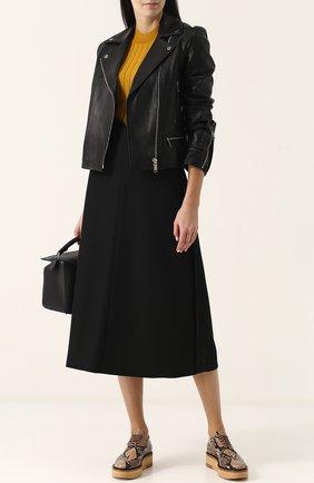 Однотонная шерстяная юбка-миди Maison Margiela черная | Фото №1