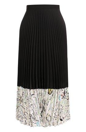 Шелковая плиссированная юбка-миди Maison Margiela черная | Фото №1