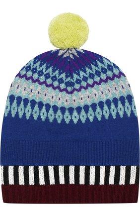 Вязаная шапка из смеси кашемира и шерсти с помпоном | Фото №1
