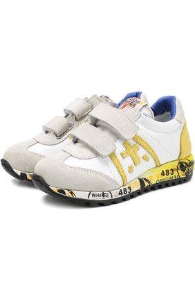 Кожаные кроссовки с замшевой отделкой и застежками велькро | Фото №1