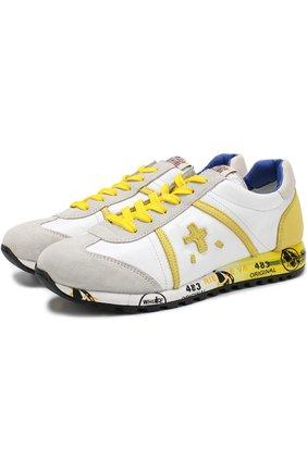 Кожаные кроссовки с замшевой отделкой на шнуровке | Фото №1