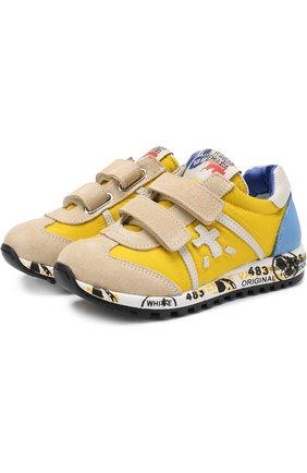 Текстильные кроссовки с замшевой отделкой и застежками велькро | Фото №1