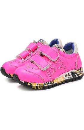 Кожаные кроссовки с застежками велькро | Фото №1