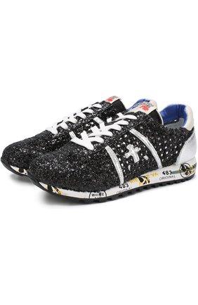 Текстильные кроссовки с глиттером на шнуровке | Фото №1
