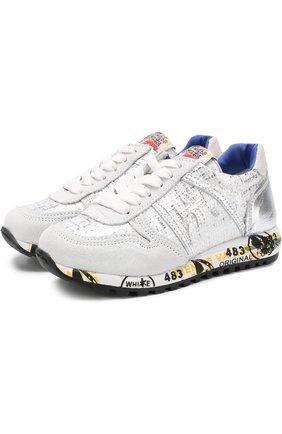 Детские кроссовки из металлизированной кожи с замшевой отделкой на шнуровке Premiata will be серебряного цвета | Фото №1
