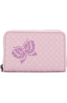 Женские кожаный кошелек с плетением intrecciato и аппликацией BOTTEGA VENETA розового цвета, арт. 464850/VCL61 | Фото 1