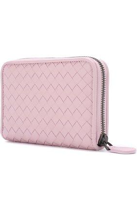 Женские кожаный кошелек с плетением intrecciato и аппликацией BOTTEGA VENETA розового цвета, арт. 464850/VCL61 | Фото 2