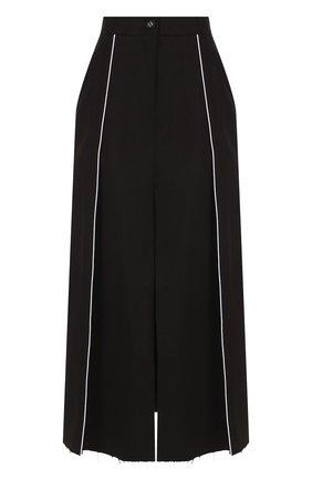 Хлопковая юбка-миди с высоким разрезом Walk of Shame черная | Фото №1