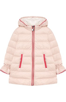 Детского пуховая куркта с капюшоном и оборками MONCLER ENFANT светло-розового цвета, арт. D1-951-49913-05-53048 | Фото 1