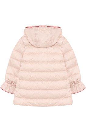Детского пуховая куркта с капюшоном и оборками MONCLER ENFANT светло-розового цвета, арт. D1-951-49913-05-53048 | Фото 2
