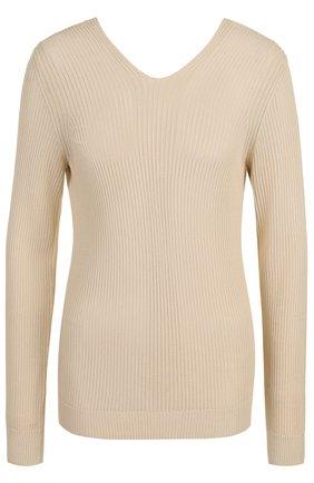 Пуловер фактурной вязки с V-образным вырезом Maison Margiela бежевый | Фото №1