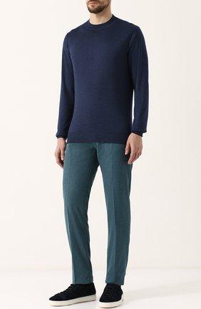 Мужской джемпер из смеси кашемира и шелка CRUCIANI синего цвета, арт. CU487.L03 | Фото 2