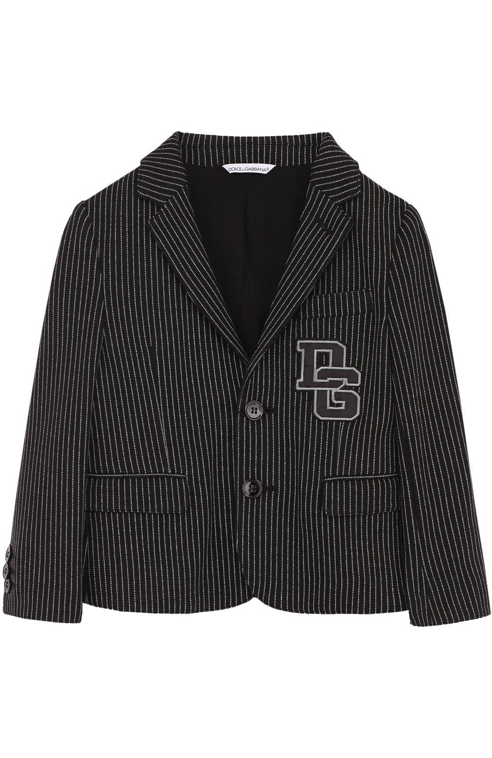 Однобортный пиджак из хлопка и кашемира и нашивкой   Фото №1