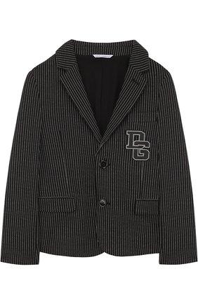 Однобортный пиджак из хлопка и кашемира и нашивкой | Фото №1
