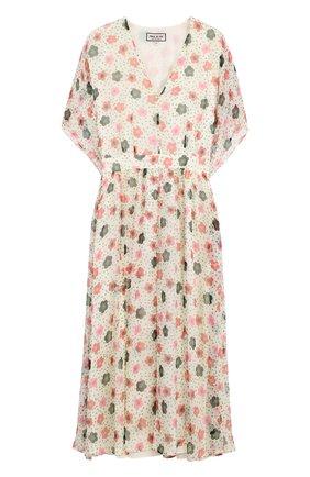 Приталенное шелковое платье с цветочным принтом | Фото №1