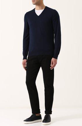 Мужской хлопковый пуловер CANALI темно-синего цвета, арт. C0029/MK00145 | Фото 2