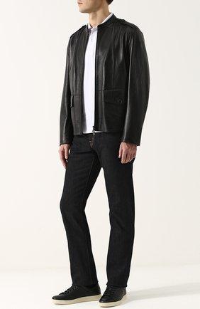 Мужские кожаные кеды TOM FORD черного цвета, арт. J1045T/DAP   Фото 2