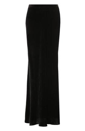 Однотонная бархатная юбка-макси | Фото №1
