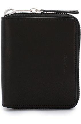 Кожаное портмоне на молнии с отделениями для кредитных карт и монет Rick Owens черного цвета | Фото №1