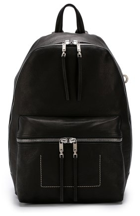 Кожаный рюкзак с внешним карманом на молнии Rick Owens серый | Фото №1