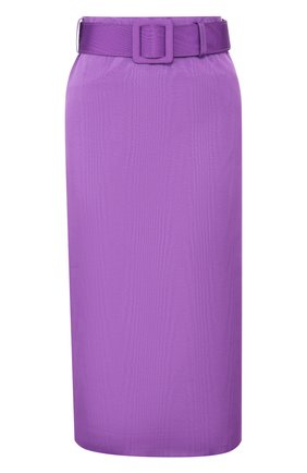 Однотонная юбка-миди с широким ремнем | Фото №1