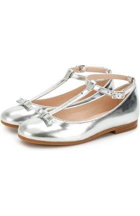 Туфли из металлизированной кожи с бантом на ремешке | Фото №1