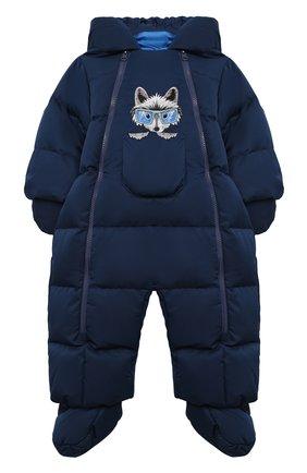 Детского пуховый комбинезон с капюшоном и варежками CHEPE синего цвета, арт. 392145 | Фото 1