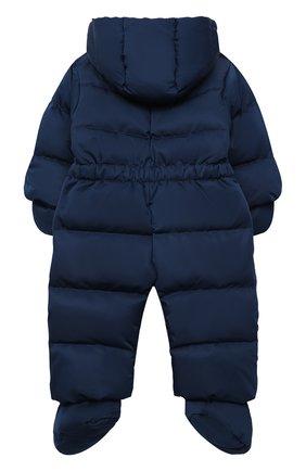 Детского пуховый комбинезон с капюшоном и варежками CHEPE синего цвета, арт. 392145 | Фото 2