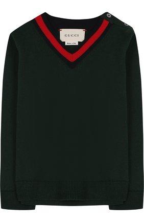 Детский хлопковый пуловер с v-образным вырезом GUCCI зеленого цвета, арт. 457692/X3F44   Фото 1